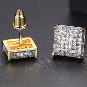 *NEW*Men cuban gold square earrings